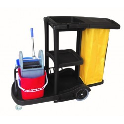 Carro de Limpieza Negro con Bolsa Vinilo 70 L+ 2 Cubos 18 Litros
