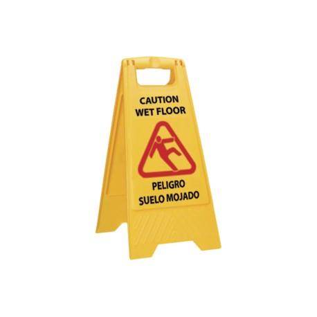 Cartel señal advertencia suelo mojado