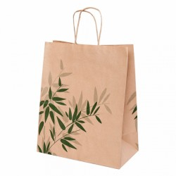 250 Bolsas Asas Papel Kraft ( 26+14x32 ) 'FEEL GREEN'