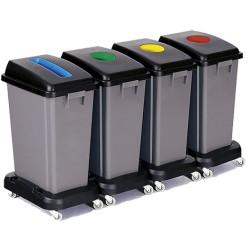 Comprar Papeleras de Reciclaje con Ruedas TAPAS COLORES SLIM 4 x 60 Litros