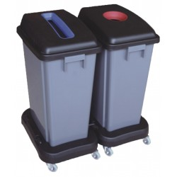 Papelera de Reciclaje 2 x 60 Litros Base con Ruedas
