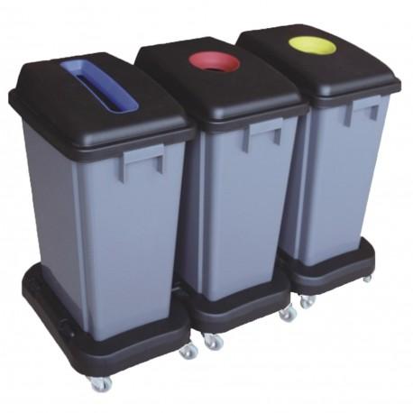 Papelera de Reciclaje con Ruedas 3 x 60 Litros