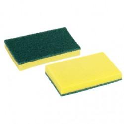 6 Estropajos fibra Verde con Esponja 10x15 cm