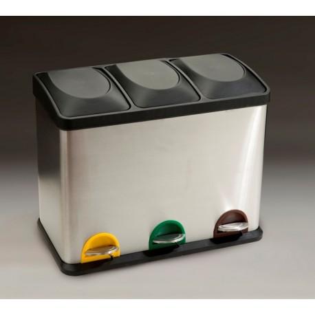 Papeleras de RECICLAJE con pedal 3 CUBOS x 15 Litros